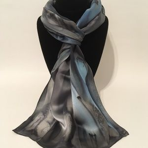 Hand Painted Silk Scarf Light Blue Charcoal Silver